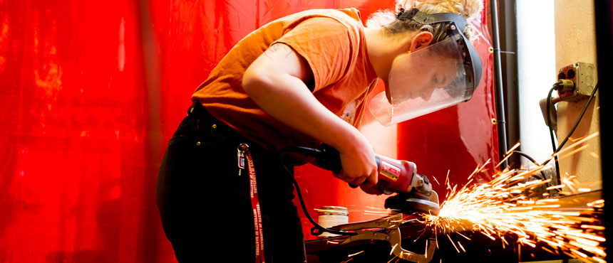 Student using welding equipment at the Hartford Art School